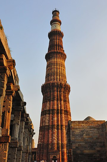 At 72.5 m (238 ft), a UNESCO World Heritage Site, the Qutub Minar is the world's tallest free-standing brick minaret. Qutub - Minar, Delhi (6994969674).jpg