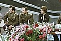 RIAN archive 628703 Soviet cosmonauts, Heroes of the Soviet Union Pavel Popovich, Yuri Gagarin, and Valentina Tereshkova.jpg