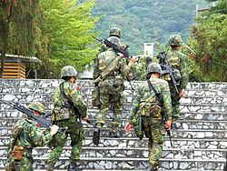 ROCA Soldiers Climbing Stair Go to Camp 20120324.jpg