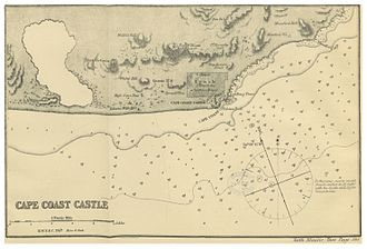 Cape Coast Castle - Map of Cape Coast Castle (1869)