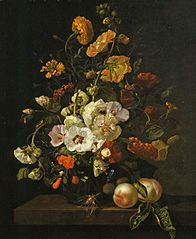 Flowers in a glass vase, with insects and peaches, on a marble tabletop