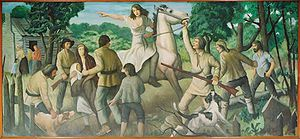 Rachel Silverthorn's ride to warn settlers along Muncy Creek of impending attacks. (WPA Mural by John W. Beauchamp in the Muncy, Pennsylvania Post Office).