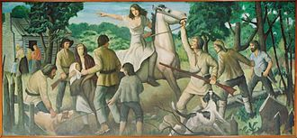 "United States post office murals - ""Rachel Silverthorne's Ride"" (1938) by John W. Beauchamp, in the Muncy, Pennsylvania, post office"