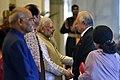 Ram Nath Kovind, the Vice President, Shri M. Venkaiah Naidu and the Prime Minister, Shri Narendra Modi meeting the Prime Minister of Malaysia, Dato' Sri Mohd Najib Bin Tun Abdul Razak, at the Ceremonial Reception.jpg