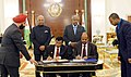 Ram Nath Kovind and the President of Djibouti, Mr. Ismail Omar Guelleh witnessing the signing of agreement between India and Djibouti on Foreign Office Consultation through Diplomatic Channel, at Presidential Palace.jpg