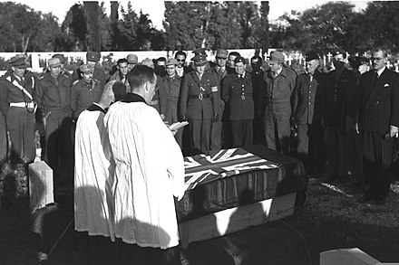 The funeral of a Royal Air Force pilot killed during a clash with the Israeli Air Force. Ramle Funeral 1949.jpg