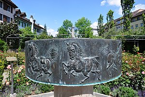 Hans Erni - Circus Knie fountain located at the so-called Duftrosengarten in Rapperswil