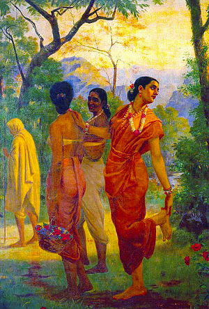 Vedic and Sanskrit literature - Shakuntala stops to look back at Dushyanta, Raja Ravi Varma (1848-1906), scene from Abhijñānaśākuntalam.
