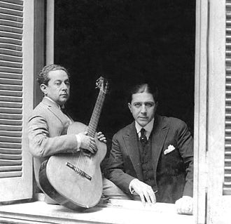Carlos Gardel - José Razzano (left) and Gardel in Gardel's mother's house, 1926