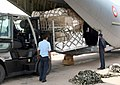 Relief materials for earthquake affected people in Nepal are being loaded into an IAF transport aircraft, at Palam airport, in New Delhi.jpg