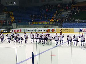 South Korea men's national ice hockey team - South Korea at the 2017 World Championship Division IA tournament in Ukraine. They finished second and earned promotion to the World Championship for the first time.