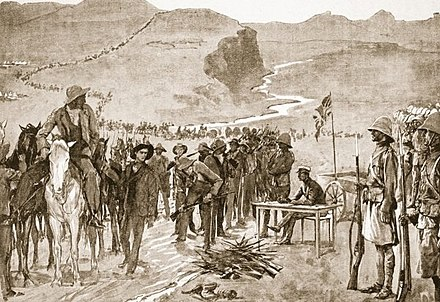 The end result of the Boer Wars was the annexation of the Boer Republics to the British Empire in 1902 Resa del bacino del Brandewater.jpg