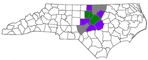 Counties contained in the Research Triangle. T...