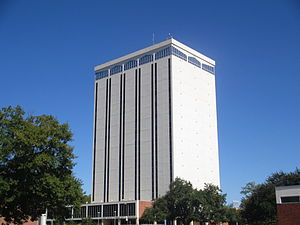 Hugh G. Parker Jr. - The Wyly Tower of Learning, named for the benefactors Sam Wyly and Charles Wyly, is the most prominent building on the Louisiana Tech University campus in Ruston, Louisiana. It was designed by Hugh G. Parker Jr., c. 1970.