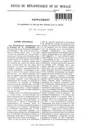 Revue de métaphysique et de morale, supplément 4, 1912
