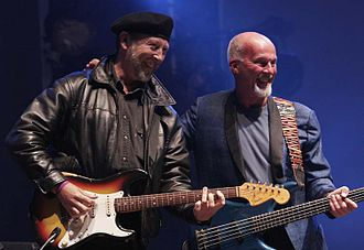 Dave Pegg - Dave Pegg with guitarist Richard Thompson (pictured at left) at Fairport's Cropredy Convention, 2005