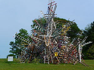 Arts in Atlanta - Rise Up Atlanta, by Charlie Brouwer, was a temporary urban-art sculpture made of ladders erected in the East Side's Freedom Park