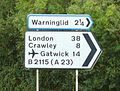 Road sign at Slough Green Junction showing destinations along Slough Green Lane. - geograph.org.uk - 69969.jpg