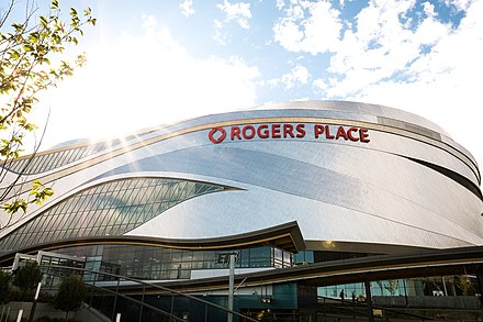 Rogers Place is a multi-use indoor arena, and the present home arena for the NHL's Edmonton Oilers. Rogers Place Arena.jpg