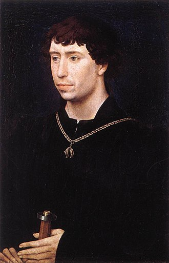 Jean Wauquelin presenting his 'Chroniques de Hainaut' to Philip the Good - Image: Rogier van der Weyden Portrait of Charles the Bold WGA25709