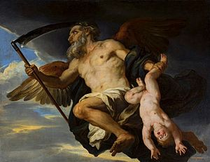 "Chronos - Chronos and his Child by Giovanni Francesco Romanelli, National Museum in Warsaw, a 17th century depiction of Titan Cronus as ""Father Time,"" wielding a harvesting scythe"