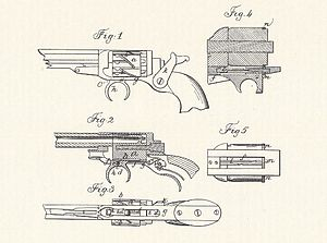 Colt Model 1855 Sidehammer Pocket Revolver - Original 1855 patent of the gun, still with the zig-zag cylinder