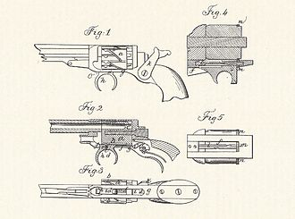 Colt Model 1855 Sidehammer Pocket Revolver - Original 1855 patent of the gun, still with the zig-zag cylinder