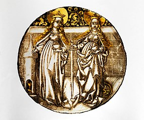 Roundel with Saints Barbara and Catherine
