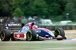 Rubens Barrichello - Jordan 193 during practice for the 1993 British Grand Prix (33645869866).jpg