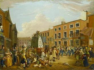 Rushbearing - A rushbearing procession at Long Millgate, Manchester painted by Alexander Wilson, 1821