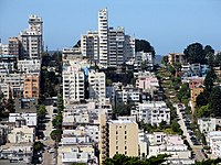 "A view of Lombard Street and Russian Hill from Telegraph Hill. The picture includes the famous ""World's crookedest street"" portion of Lombard Street."