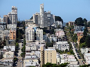 "Russian Hill, San Francisco - A view of Lombard Street and Russian Hill from Telegraph Hill. The picture includes the famous ""World's crookedest street"" portion of Lombard Street."
