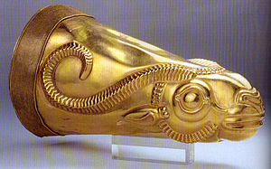 Ecbatana - Golden rhyton from Iran's Achaemenid period, excavated at Ecbatana (Tell Hagmatana). Kept at National Museum of Iran.