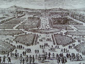 Tuileries Garden - Tuileries Garden of Le Nôtre in the 17th century, looking west toward the future Champs Élysées, engraving by Perelle