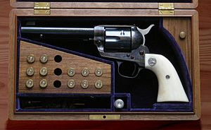 Case-hardening - Colt Peacemaker, showing case-hardening colors on the frame