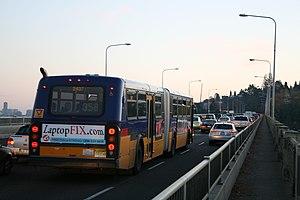 Aurora Bridge - A southbound Route 358 articulated bus crosses the George Washington Memorial Bridge