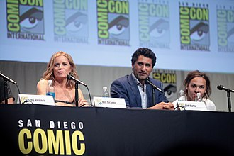 "Frank Dillane - Kim Dickens, Cliff Curtis and Frank Dillane speaking at the 2015 San Diego Comic Con International, for ""Fear the Walking Dead"", at the San Diego Convention Center in San Diego, California."