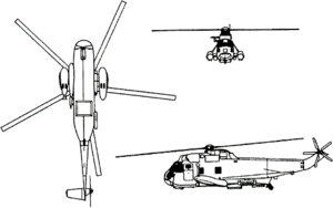 Orthographically projected diagram of the SH-3 Sea King.