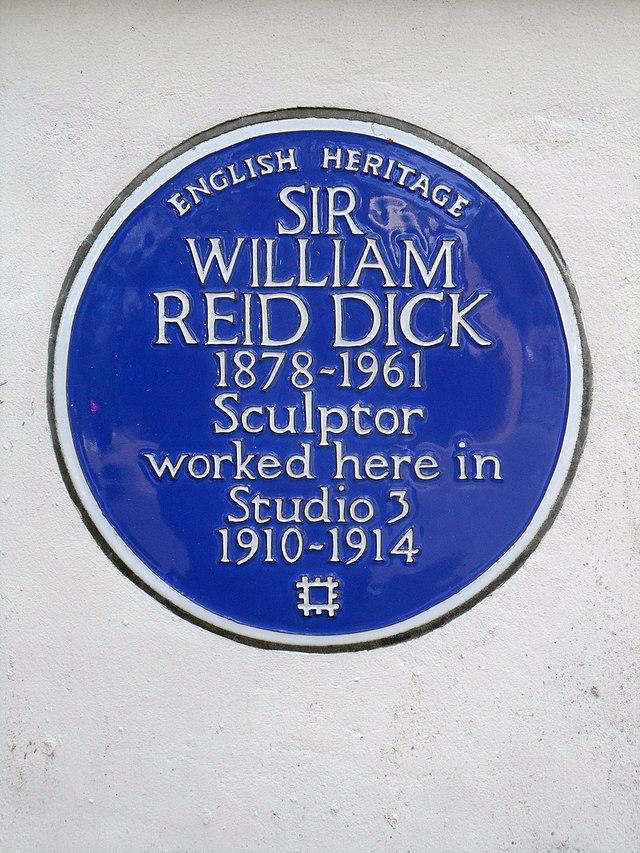 William Reid Dick blue plaque - Sir William Reid Dick 1878-1961 sculptor worked here in studio 3 1910-1914
