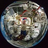 STS132 Reisman inside Quest Airlock