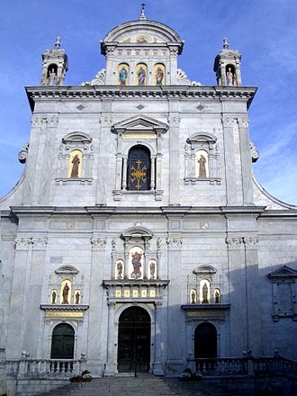 Province of Vercelli - Sacro Monte di Varallo. Façade of the basilica.