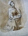 Saint Agatha with her breasts on a charger. Ink drawing by T Wellcome L0029036.jpg