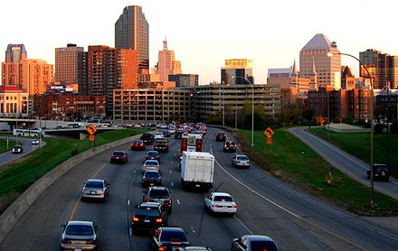 I-94 as it enters downtown Saint Paul from the west
