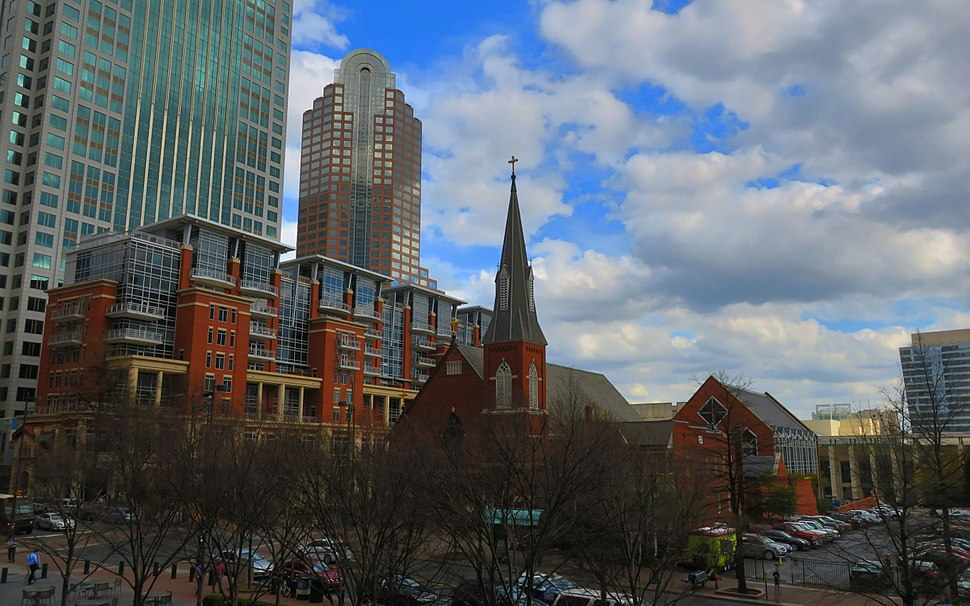 Saint Peter Catholic Church (Charlotte, North Carolina) - view from Mint Museum