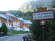 Panneau routier d'entrée à Saint-Colomban-des-Villards en Maurienne