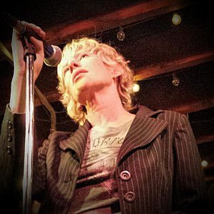 Sally Timms - Timms performing with the Mekons at the Hideout, Chicago, Illinois on July 13, 2015