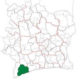 Location in Ivory Coast. San-Pédro Department has retained the same boundaries since its creation in 1988.