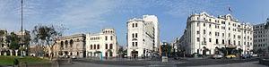 Plaza San Martín (Lima) - Hotel Bolivar (on the right side)