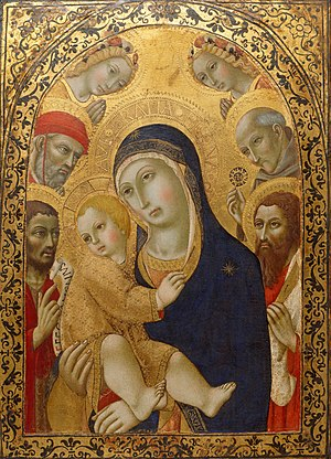 Sano di Pietro - Sano di Pietro Madonna and Child with Saints Jerome, John the Baptist, Bernardino and Bartholomew. (1451-1480) Art Gallery of New South Wales