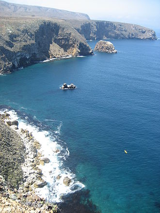 Santa Cruz Island - The north coast of Santa Cruz Island in August.